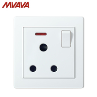 MVAVA 15A South Africa Round Pin wall Switched Socket 1 Gang Electric 3 Pins Outlet Plug 110 250V With light Free Shipping