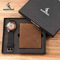 Personalized Bifold Wallet and Wooden Watches for Men Engraved Family Gift for Son Dad