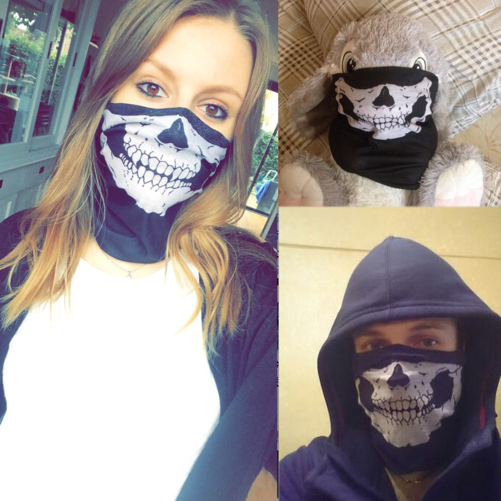 aliexpresscom buy halloween cosplay bicycle ski skull mask half face mask ghost scarf neck warmer skull party supplies terror mask motorcycle mask from - Cool Masks For Halloween