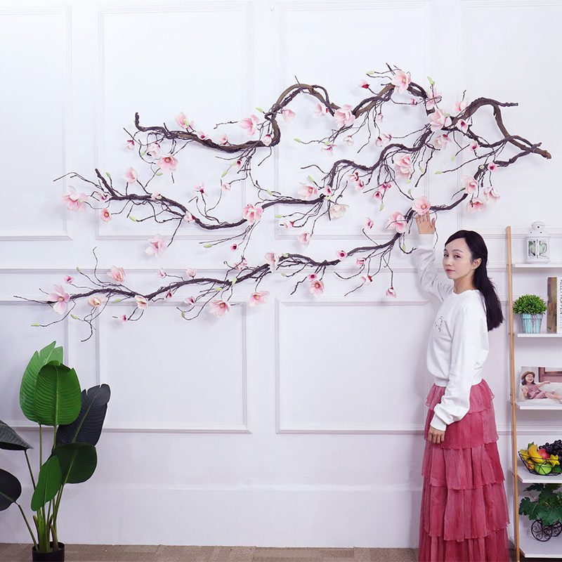 magnolia flowers garland fake Magnolia branches Wedding Decorations Ivy Vine Artificial Flowers wall Arch Decor Hanging flowers in Artificial Dried Flowers from Home Garden