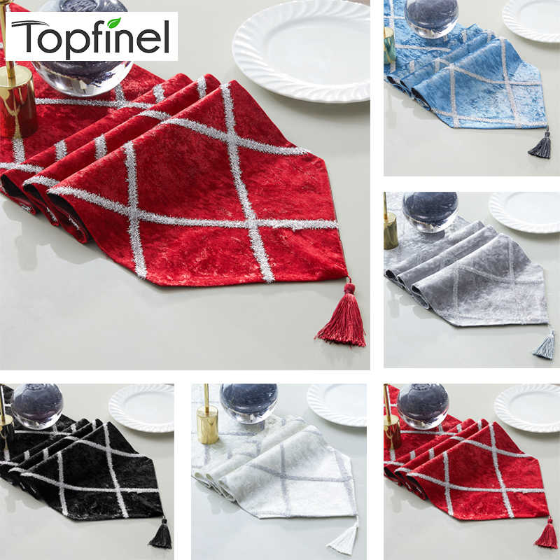 Topfinel Fashion Diamond Shaped Stripes Table Runners Cloth with Tassels Dining Decoration for Wedding Dinner Party Decorative