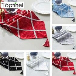 Topfinel moda diamante em forma de listras corredores de mesa pano com borlas decoração jantar para festa de jantar casamento decorativo