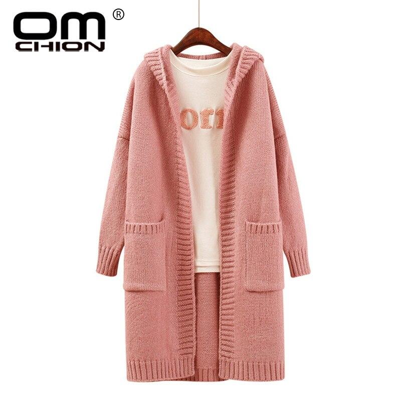 OMCHION Cardigan Feminino 2017 Winter Long Sleeve Big Pocket Pink Sweater Women Hooded Knitted Coat Large Long Cardigans QS15