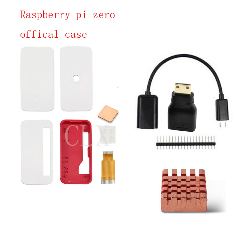Raspberry Pi Zero Official Case+HDMI Adapter+USB Adapter+heat Sink+2*20pin