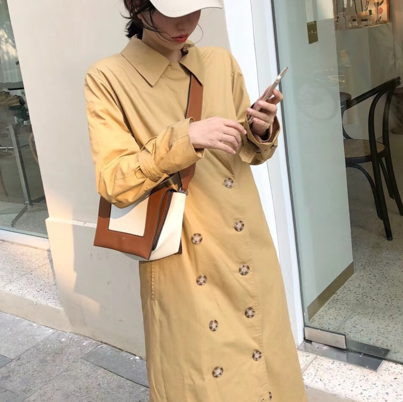 Section Longue Coupe Trench breasted Khaki 2018 Deat Vêtements Revers vent Manteau À Femmes Be157 Automne Double La Pour Vintage Mode XzHwZv