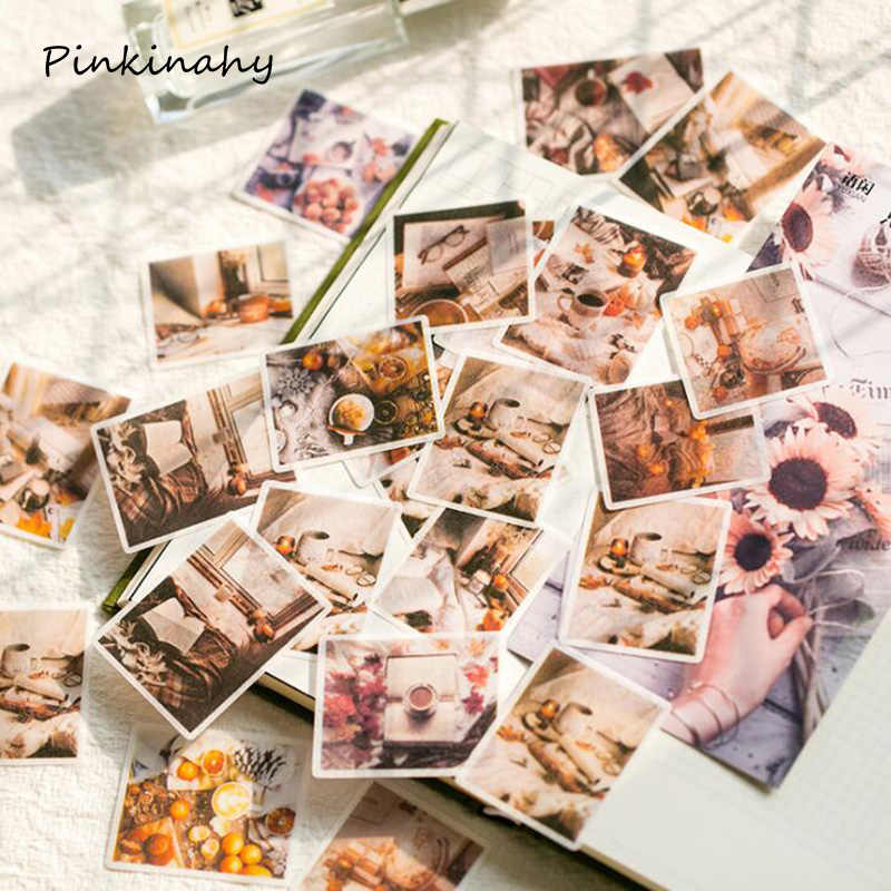 60pcs/pack Journal Japanese Paper INS Style Coffee Life Decorative Diary Cute Stickers Scrapbooking Flakes Stationery DT003