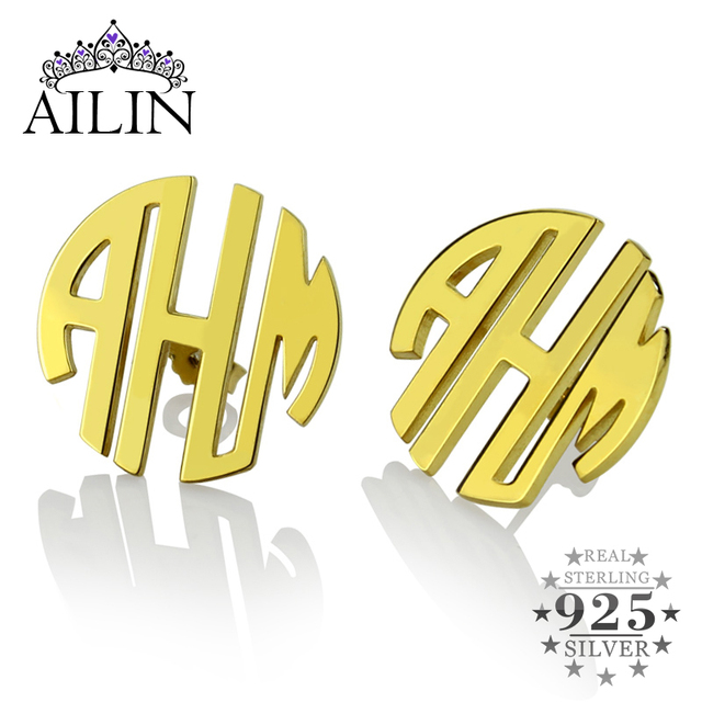Customized Gold Monogram Earrings  Block Monogram Stud Earrings 3 Initial Earrings Name Earrings for Women
