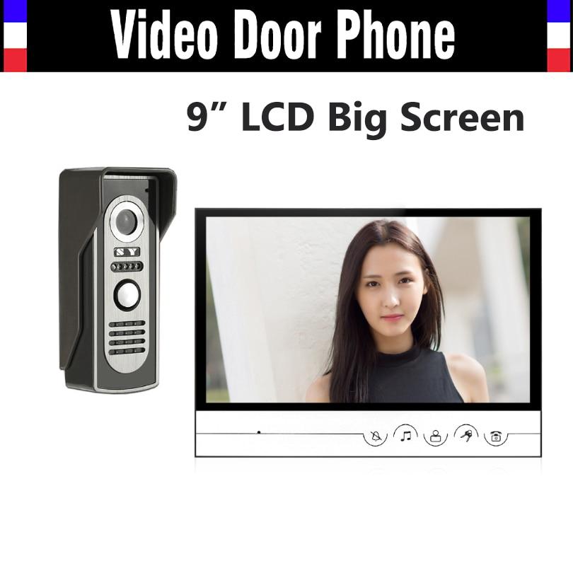 9 inch big monitor video intercom system video door phone doorbell doorphones kit for home intercom unlock IR night vision