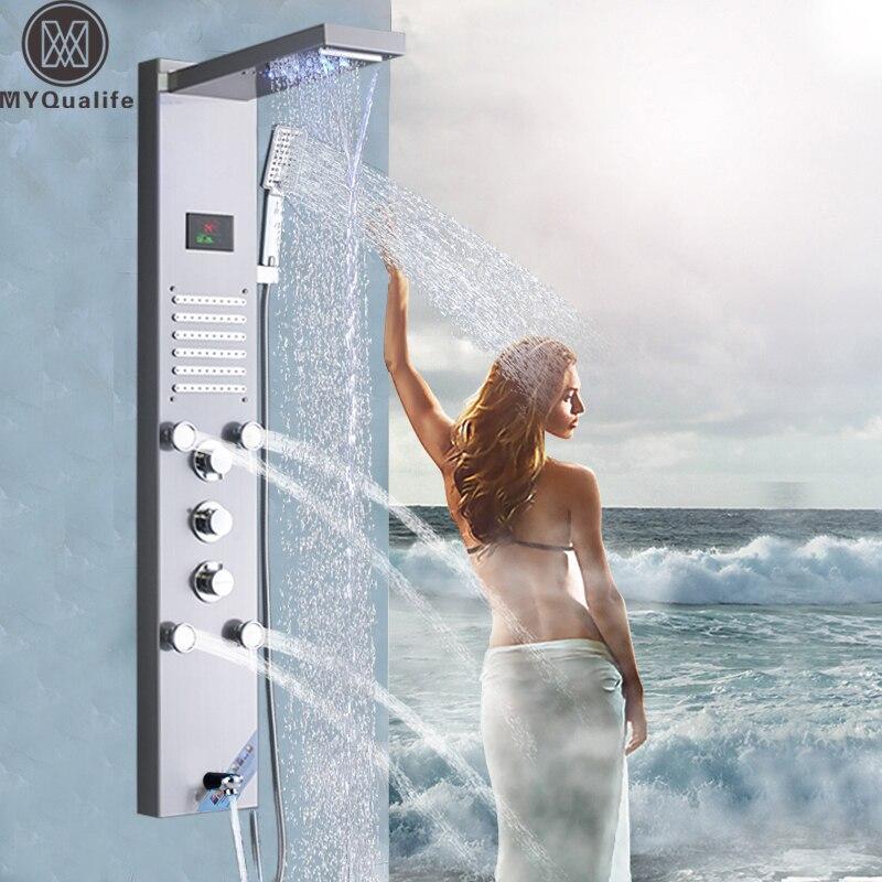 Матовый Никель дождь водопадом, душ Панель кран светодиодный свет массаж тела Джетс смеситель для душа латунь Ванна Носик Душ столбца башня