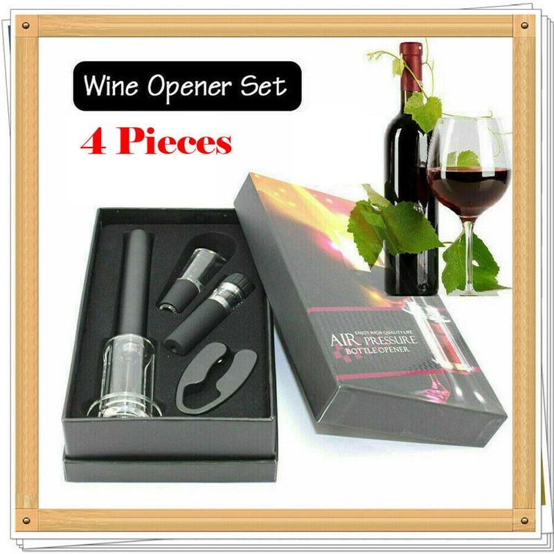 Red Wine Bottle Opener Cork Remover Easy Air Pump Pressure Corkscrew Tools 4PCS