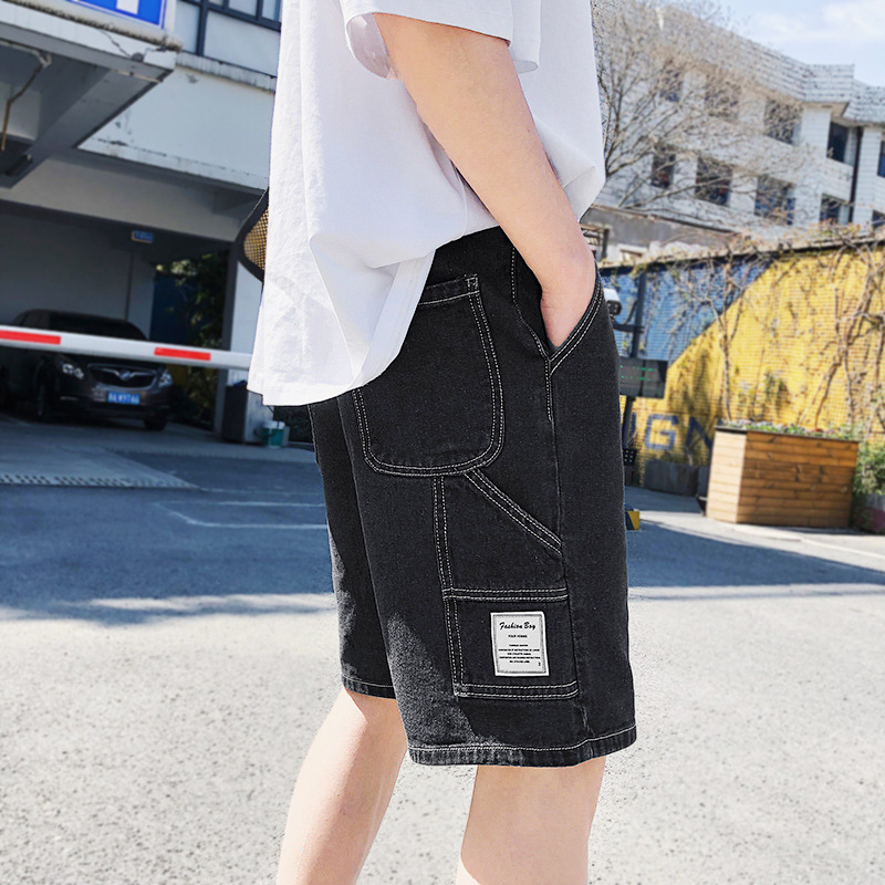 Men's Shorts Jeans Packets Streetwear Loose-Style Knee-Length Summer Casual Denim Male