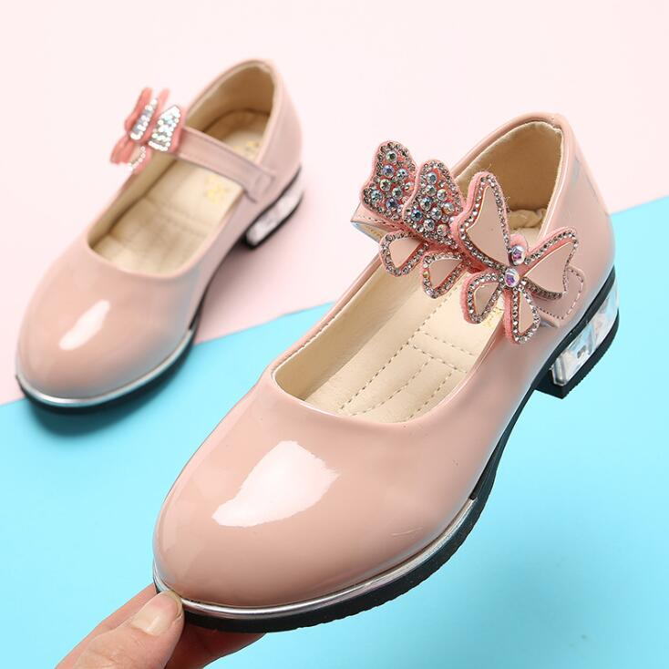Kids Shoes Girls High Heel Princess Shoes Fashion Children Shoes Leather Fashion Girls Party Dress Wedding Dance