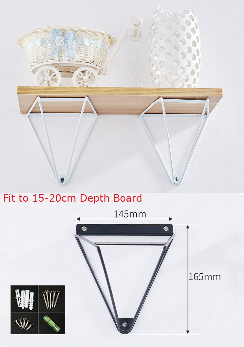 1Pair(2Pcs)/Lot White Black Silver North European Wire Triangle Wall Mount Shelf Bracket Brackets Support Shelf With Screws 1pair 2 pcs lot black wall mounted shelf bracket brackets support with screws round tube