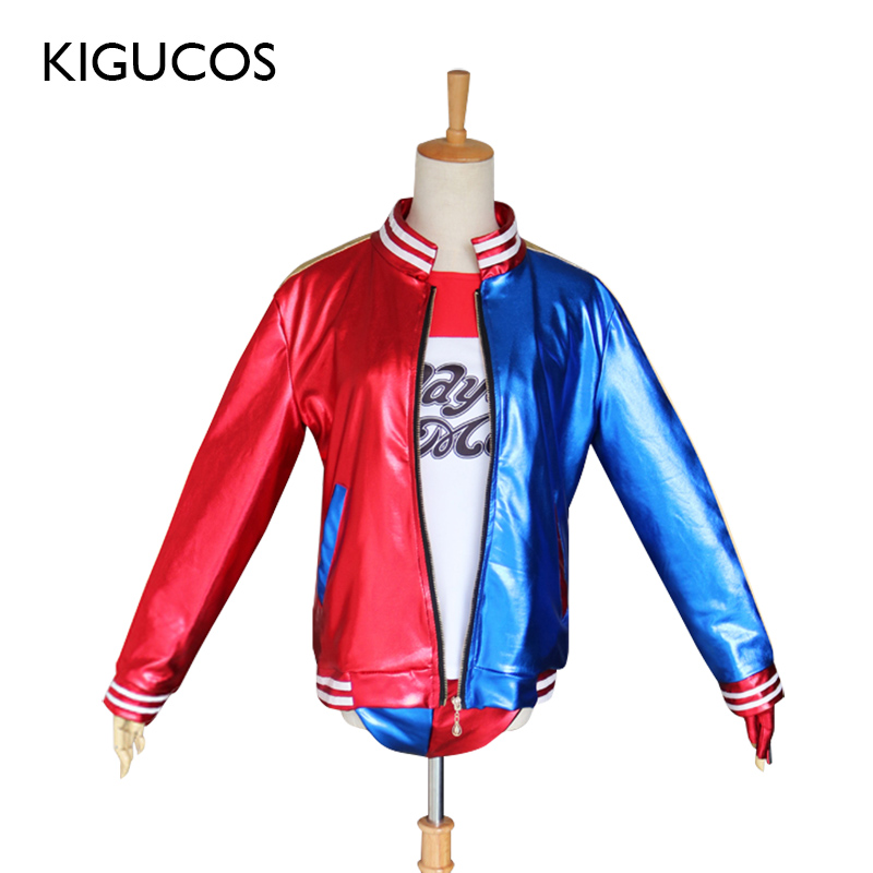 KIGUCOS Harley Quinn Cosplay Costumes From Anime Suicide Squad Adult Women Party Outfit Halloween Costumes Jacket Shirt Pants