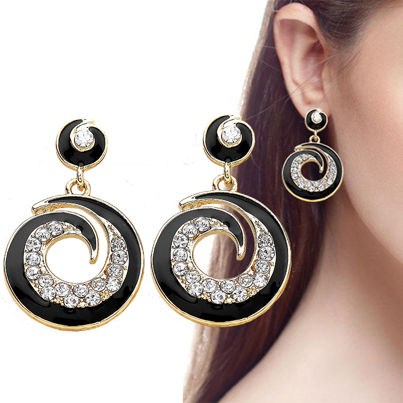 2017 Trendy Big Round Crystal Stud Earrings For Women ...