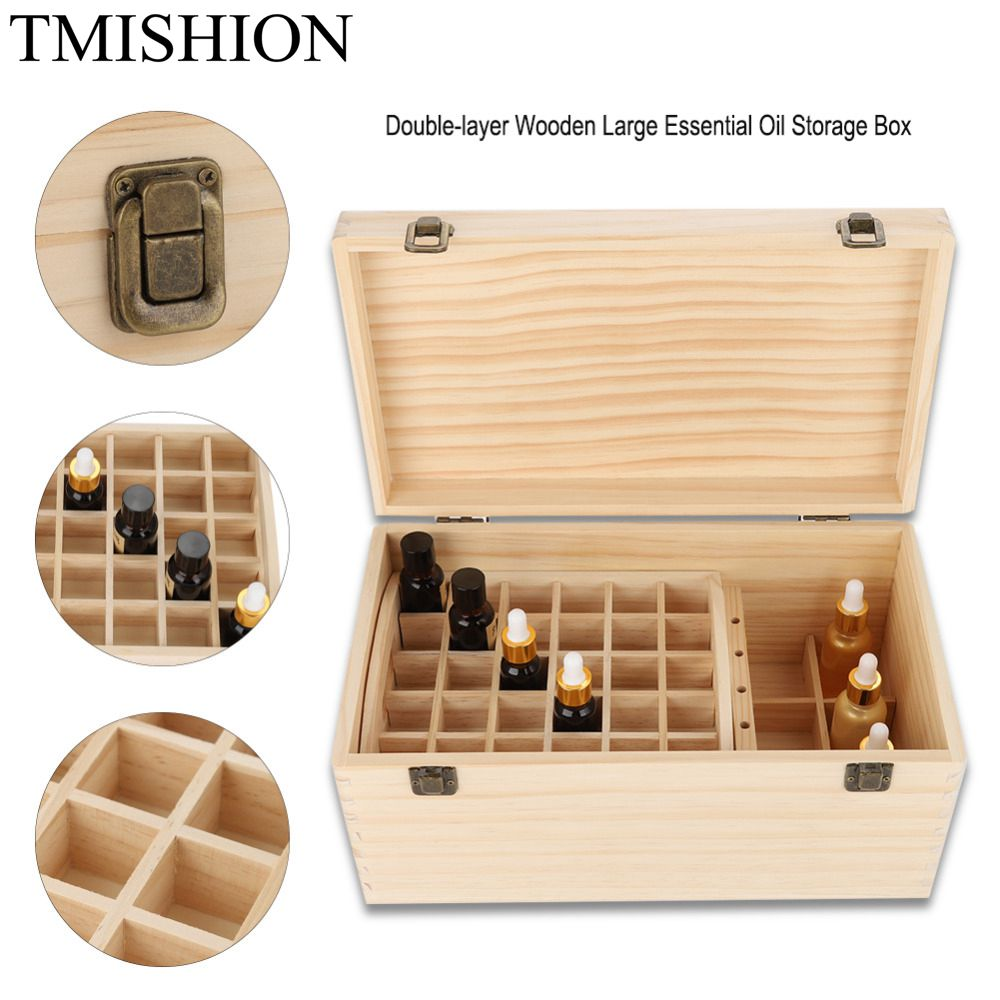 TMISHION Double-layer 66 Grids Essential Nail gel Oil Wooden Box Case Wood Nail Gel Oil Bottle Display Stand Holder Nail Tool reza kamyab moghadas optimization of double layer grids