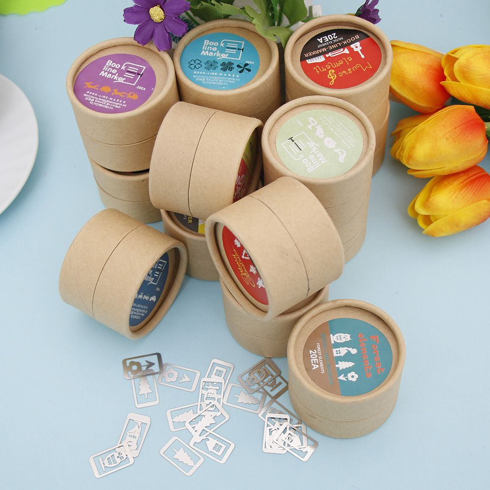 20Pcs/Box Mini Metal Bookmarks Office School Book Note Clip With Cute Case Box