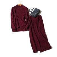 Чистый козел кашемир клипы пряжа плотного трикотажа Женская мода свитер Костюмы Водолазка пуловер юбка длиной до середины икры 2 шт./компл. m