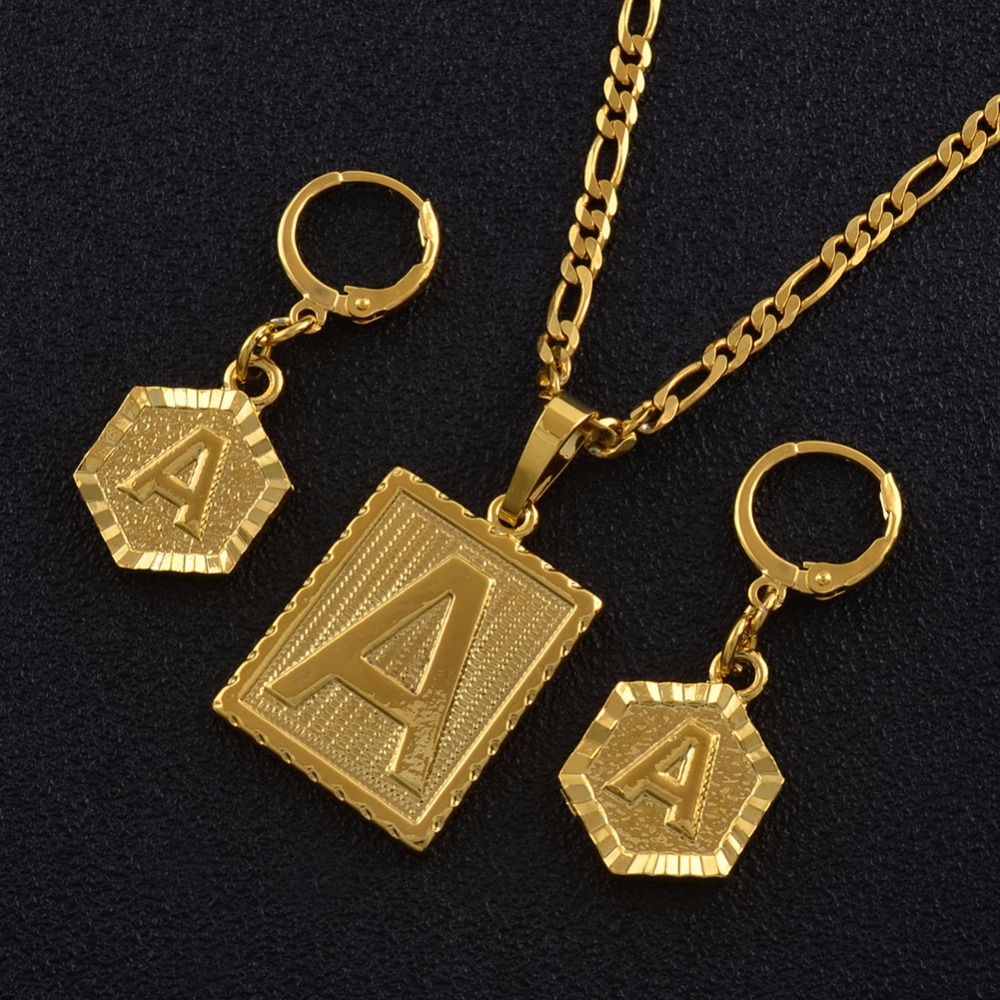 Anniyo A-Z 26 Letters Necklaces Sets Gold Color Initial Alphabet Pendant Letter Earring Jewelry Accessories #104006SS beurself oversized capital initial necklace custom name large 26 letters alphabet punk style gold color alloy jewelry for women