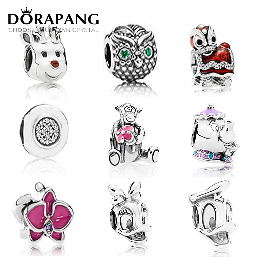 DORAPANG 100% 925 sterling silver teddy bear animal beads cz charm european Fit Bracelet DIY bracelet factory Wholesale dorapang 100% 925 sterling silver snake chain necklace fit charm beads for women fashion jewelry diy bracelet factory wholesale