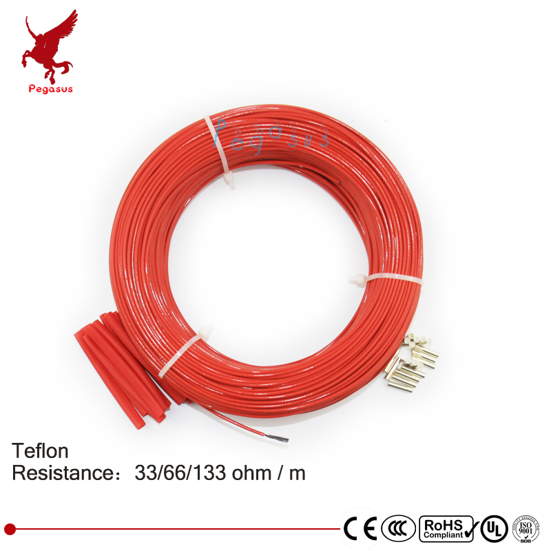 100 mètres 33ohm 66ohm 133ohm haute qualité téflon PTFE fiber de carbone fil chauffant câble chauffant système de chauffage par le sol infrarouge