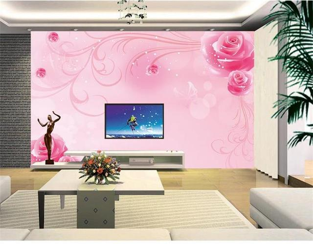 Custom room wallpaper Non Woven mural 3d photo wallpaper Pink roses ...