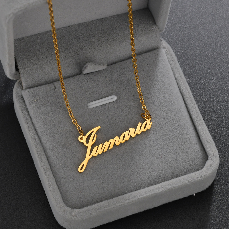 Atoztide Stainless Steel Personalized Custom Name Necklace Mirror Surface Gold Choker Necklace Pendant Nameplate Gift 4