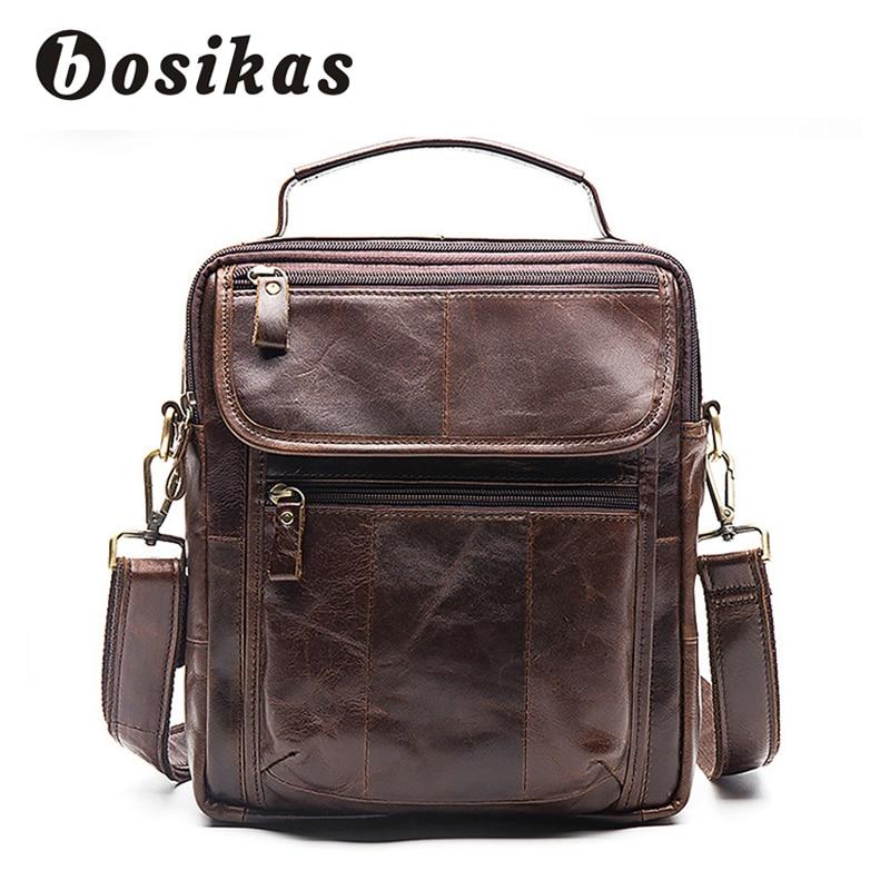 купить BOSIKAS Men's Briefcase Genuine Leather Men Bags Vintage Male Zipper Messenger Shoulder Bag Man Casual Crossbody Bags Handbag недорого