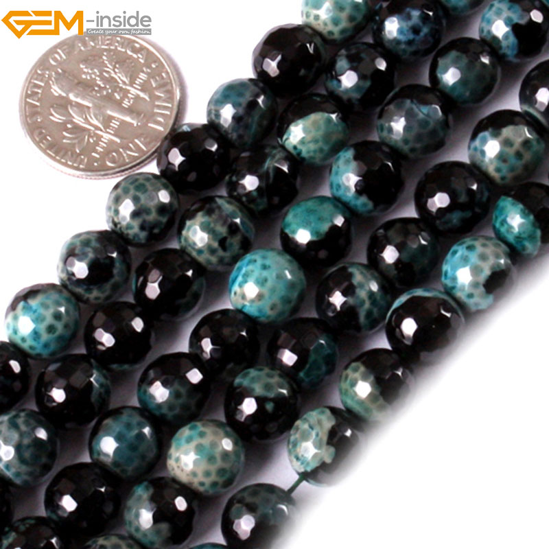 Gem-inside 6mm 8mm Natural Round Faceted Frost Agates Beads For Jewelry Making 15inches DIY Christmas Valentine Gift Jewellery