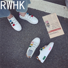 RWHK 2019 spring new female Korean student fashion color matching shoes flat magic paste casual B358