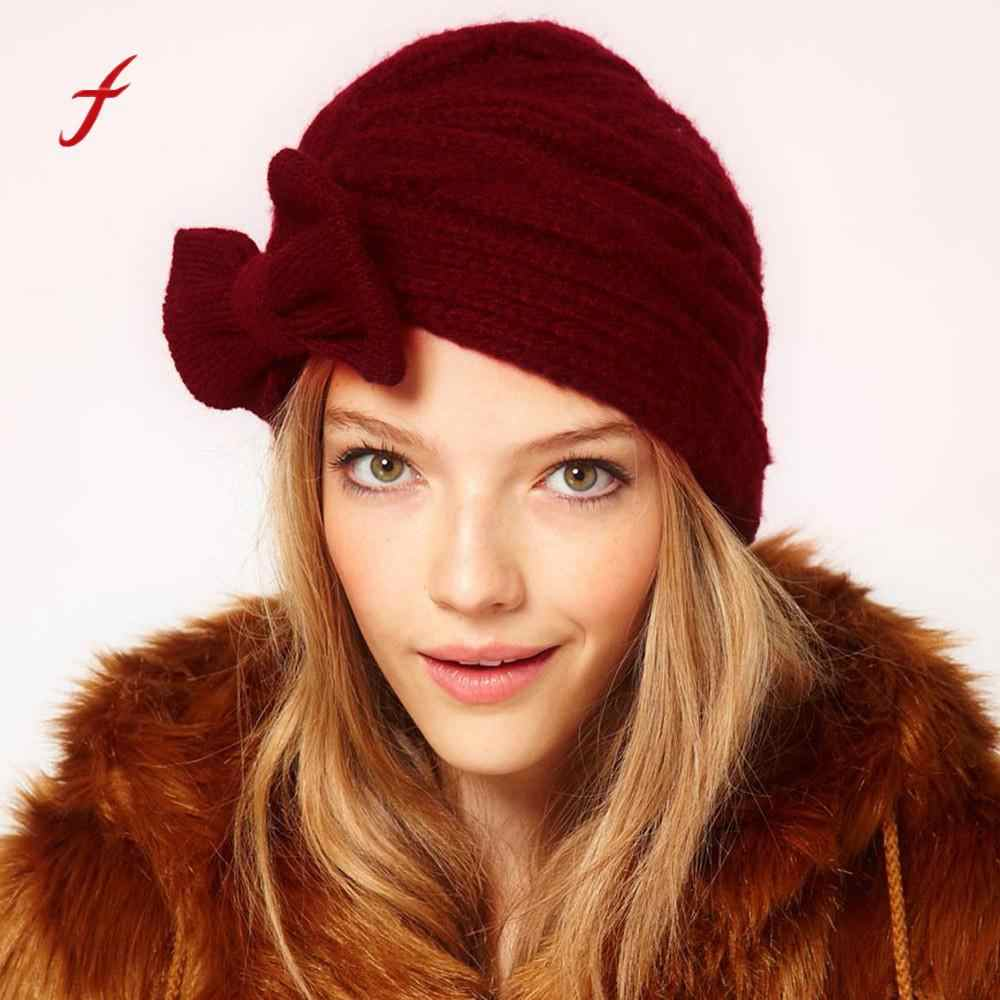 a20f7cf7726ab7 Women Wool Knit Ski Beanie Baggy Warm Crochet Winter Skull Slouchy Caps INS  Style Ladies Fashion