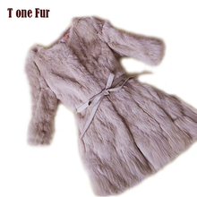 2016 New Arrival Full pelt Pure Rabbit Fur Coat 100% Real Natural KFP638