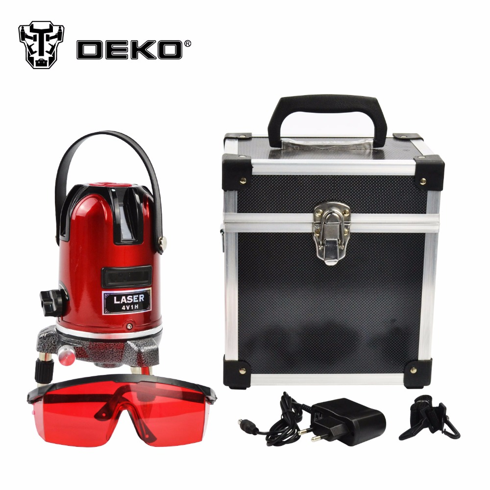 DEKO 5 lines 6 points laser level 360 rotary cross laser line leveling can be used with outdoor receiver  цены