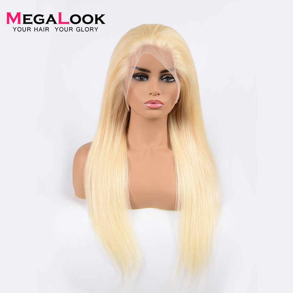 613 Honey Blond Lace Front Wig 180 Density Straight Human Hair Wig Pre Plucked With