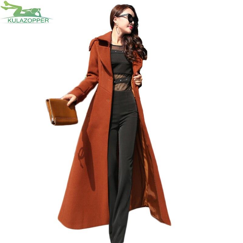 KULAZOPPER 2018 New winter womens waist casual trench coat lady woolen long Windbreaker coat female spring outwear YL030