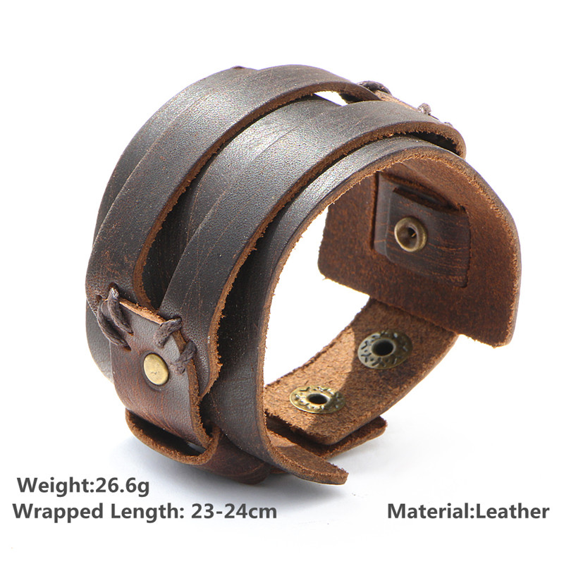 IF YOU Fashion Wide Double Layer Wrap wristband Leather Bracelet Homme Cuir For Men Fashion Casual Rock Cuff Armband Bracelets 3