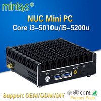 Minisys Intel NUC Mini PC Broadwell I5 5200u I3 5010U Dual Core Thin Client Fanless Pocket