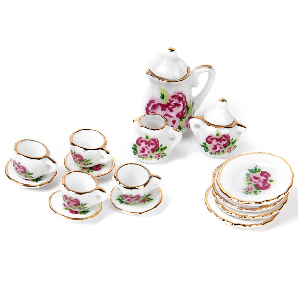 FBIL-15 Pieces Porcelain Tea Set Dollhouse Miniature Foods Chinese Rose Dishes Cup