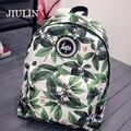 Nova nylon mochilas para meninas adolescentes moda deixa a impressão mochila mulheres mochila casuais ombro saco de escola saco de viagem