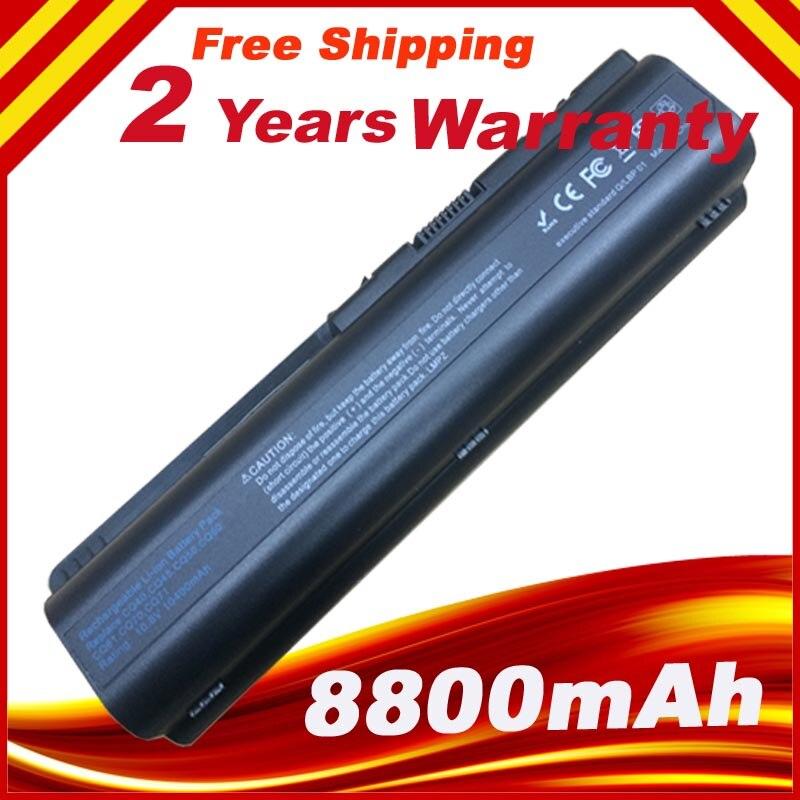 12 cellules 8800 mah batterie d'ordinateur portable pour hp pavilion dv4 dv5 dv6 dv6t g50 g61 pour compaq presario cq45 cq41 cq40