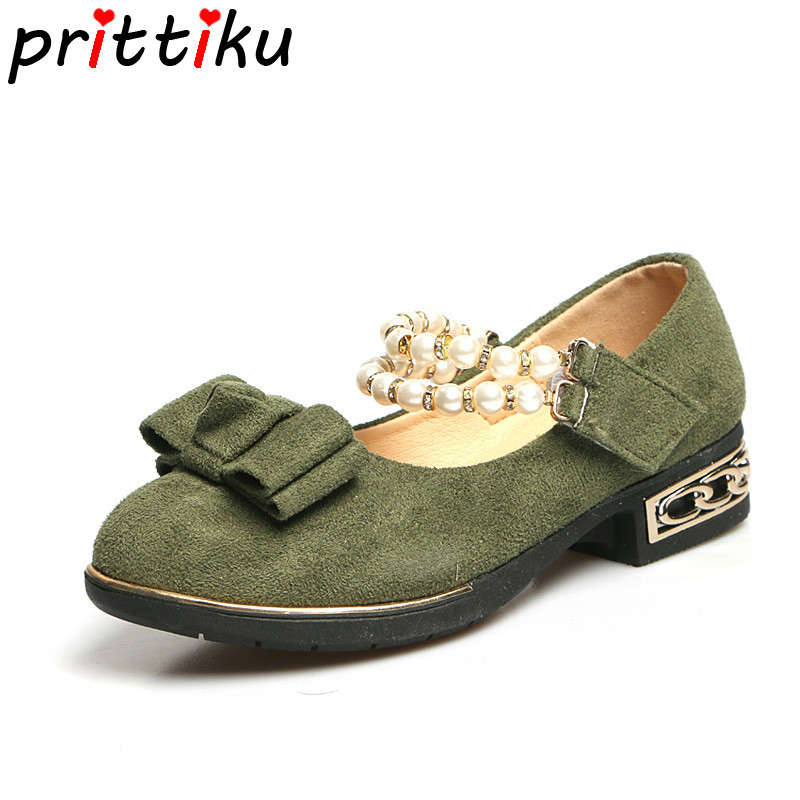 Spring 2018 Toddler Girl Bow Beaded Ankle Strap Flats Little Kid Faux Suede Mary Jane Big Children Green Pink Black Dress Shoes
