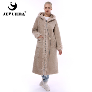 Image 2 - JEPLUDA Neue Stil Echt Pelzmantel Frauen Winter Lange Zipper Mit Kapuze Natürliche Wolle Blends Schafe Pelz Mantel Frauen Warme Echt pelz Jacke