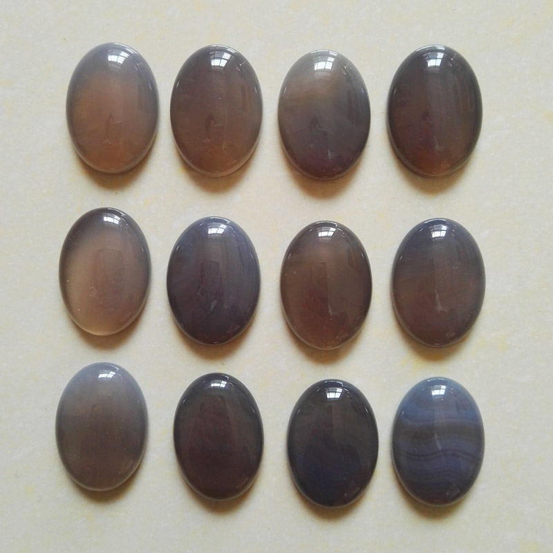 Wholesale 12pcs/lot 25mmx18mm Natural gray onyx stone beads Oval CAB CABOCHON teardrop Free shipping