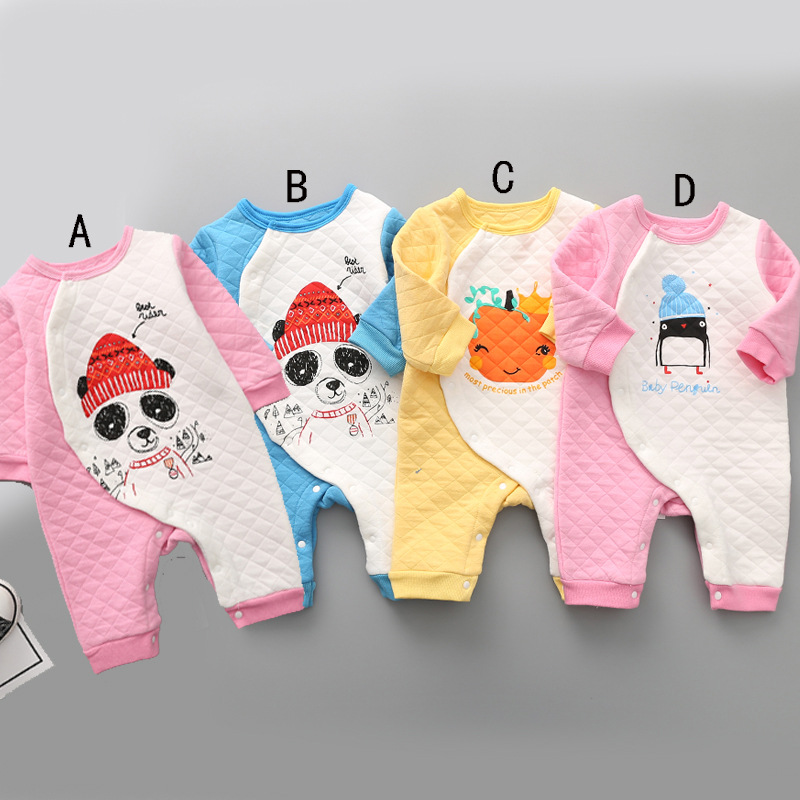 New autumn style baby cotton printed pumpkin panda rompers boys girls casual clothes fashion cute infant soft jumpers 17S907