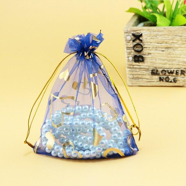 17x23cm 6 69 X9 05 100pcs Royal Blue Heart Bronzing Organza Bags