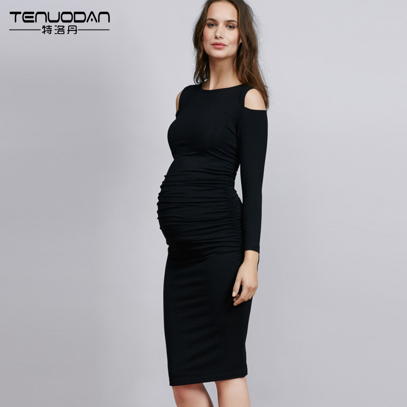 2016 spring and autumn women's casual dress long-sleeved maternity dress high waist pregnant women dress hot sale 3 color linen cotton casual maternity dresses spring autumn long sleeved dress plus size slim casual loose women s clo