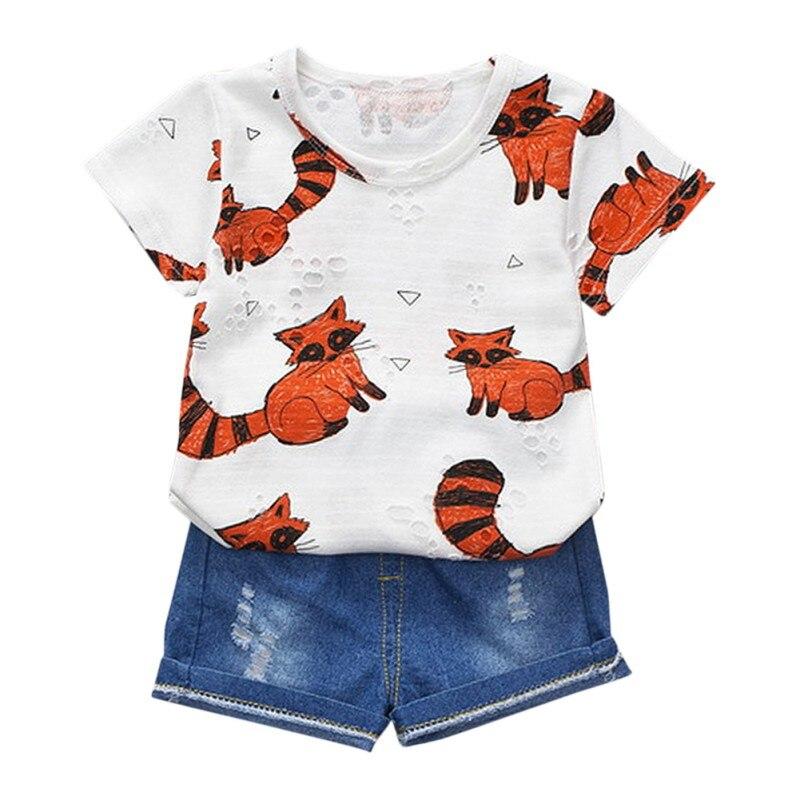 2 предмета лето комплект для малышей короткий рукав костюм для маленьких мальчиков девушки хлопок животных футболка Топы + джинсы Джинсовые...