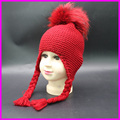 Baby Wool Hat Winter Girls Boys Earflap Beanie Cap Dyed Raccoon Fur Pompom Hats For Children