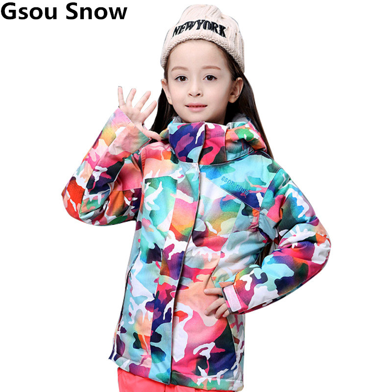 Gsou Snow Girls Colorful Ski Jacket Snowboard Snow Jacket Waterproof Super Warm Skiing Snowboarding Camping Outdoor Sports Coat