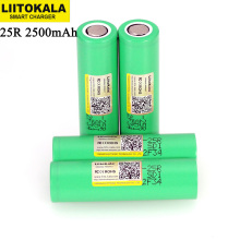 LiitoKala  18650 2500mAh Rechargeable Battery INR1865025R 3.6V discharge 20A dedicated For E cigarette batteries